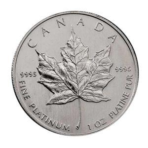 A 1 Oz platinum maple leaf coinj