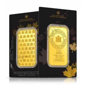 1 Oz Gold bars front and back view